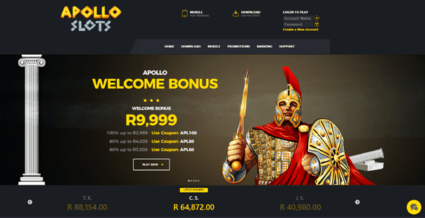 The homepage of Apollo Slots