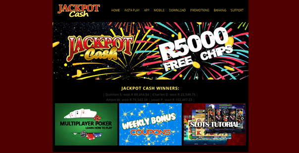 The homepage of Jackpot Cash Casino
