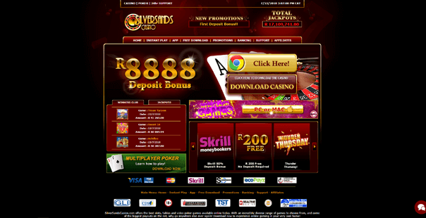 The homepage of Silver Sands Casino