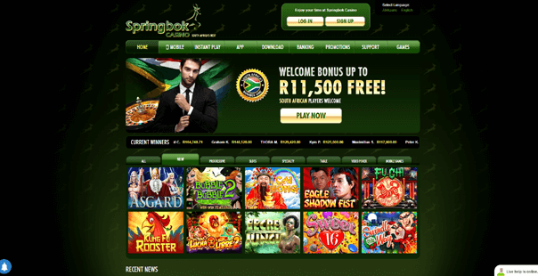 The homepage of Springbok Casino
