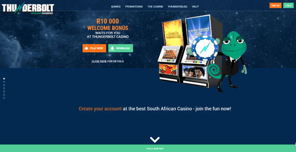 The homepage of Thunderbolt Casino