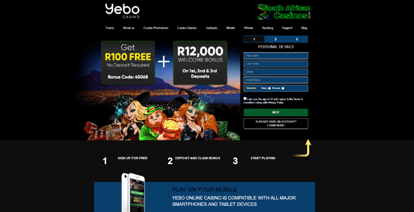 The homepage of Yebo Casino