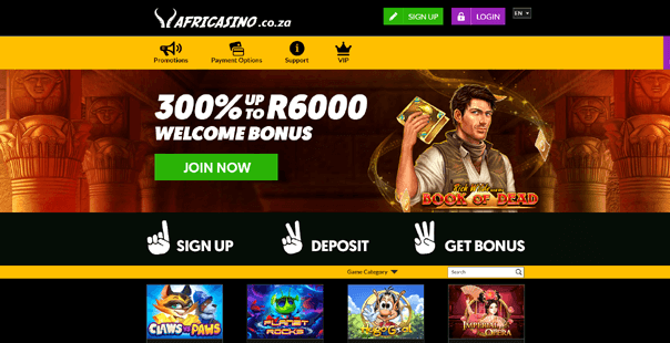 The homepage of Africasino
