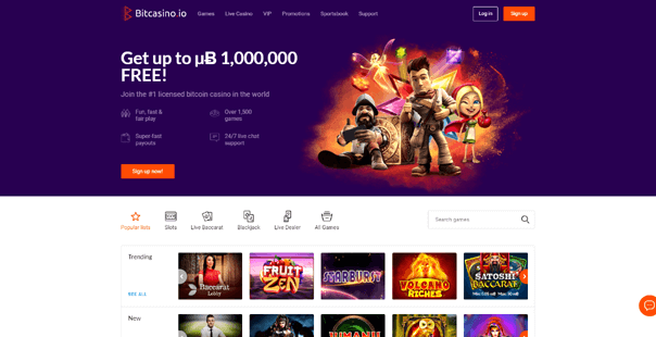 The homepage of Bitcasino