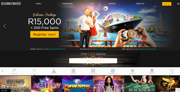 The homepage of Casino Cruise
