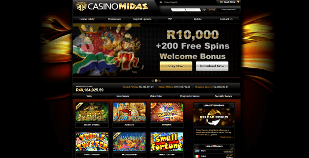The homepage of Casino Midas