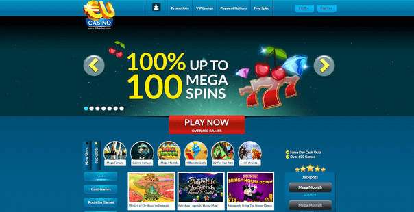 The homepage of EU Casino