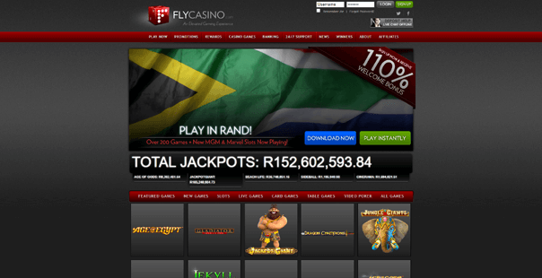 The homepage of Fly Casino