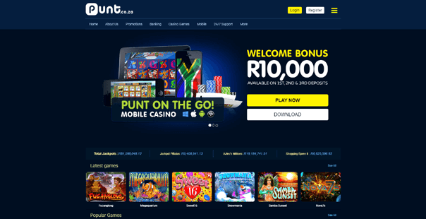 The homepage of Punt Casino
