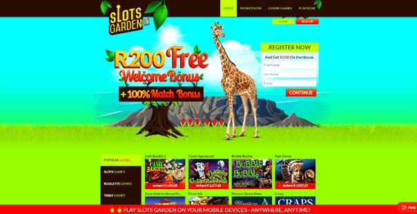 The homepage of Slots Garden Casino