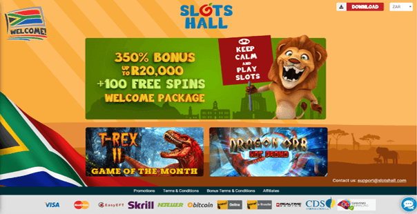 The homepage of Slots Hall Casino