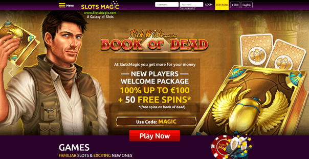 The homepage of Slots Magic Casino