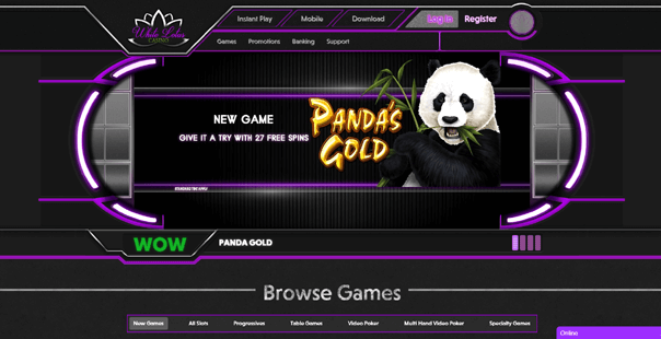 The homepage of White Lotus Casino