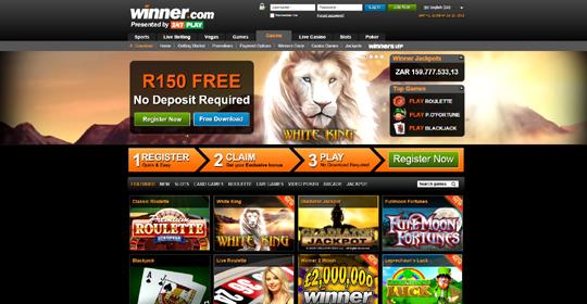 The homepage of Winner Casino