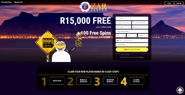 The homepage of zar casino